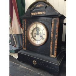 Large Slate & Marble Mantle Clock