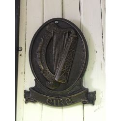 Cast Iron Eire Harp Plaque