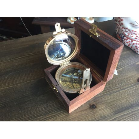 Brass Compass in Box