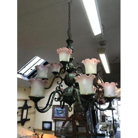 12 Branch Vintage brass chandelier