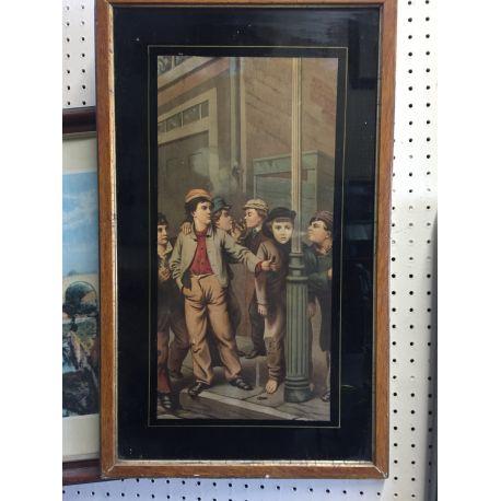 Old Print of Smoking Boys